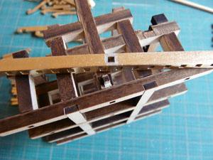 「安土城をつくる」 六階屋根の垂木を組む