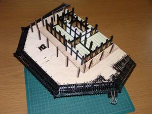 「週刊安土城をつくる」 一階北側の屋根をやり直す