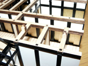 「週刊安土城をつくる」 二階北側の梁をつくる
